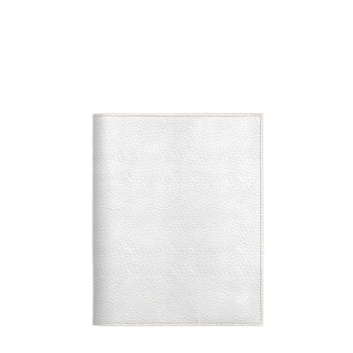 Couverture cahier A5 - Blanc - Cuir Grainé