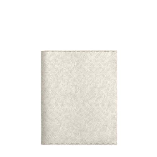 Couverture cahier A5 - Blanc Cassé - Cuir Grainé