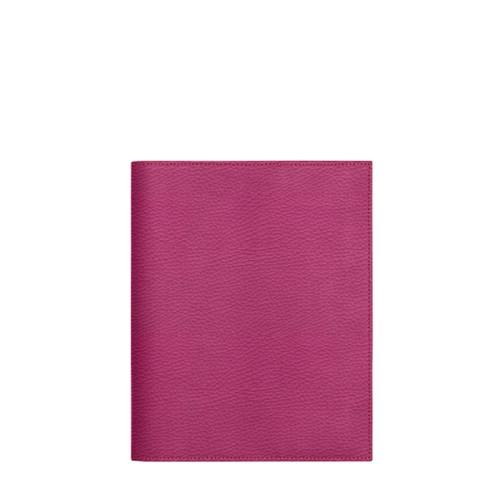 Couverture cahier A5 - Fuchsia  - Cuir Grainé
