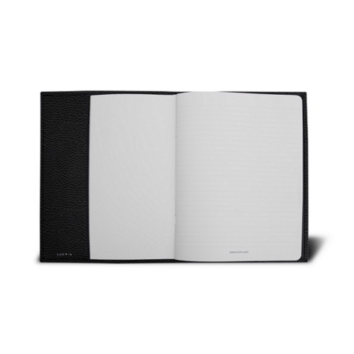 A5サイズ ノートブックカバー - Black - Granulated Leather