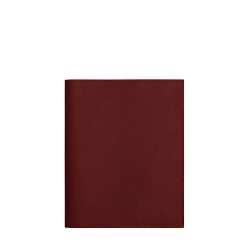 Couverture cahier A5 - Bordeaux - Cuir Lisse