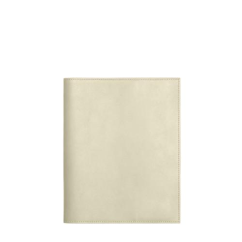 Couverture cahier A5 - Blanc Cassé - Cuir Lisse