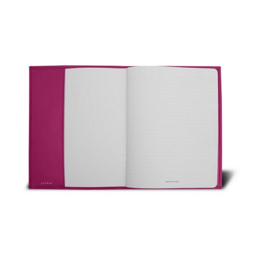 Couverture cahier A5 - Fuchsia  - Cuir Lisse