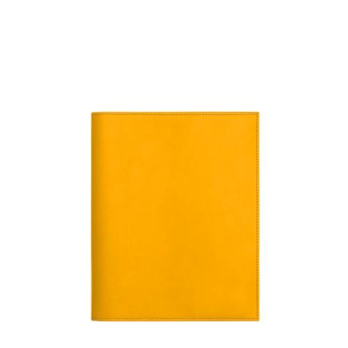 Couverture cahier A5 - Jaune Soleil - Cuir Lisse