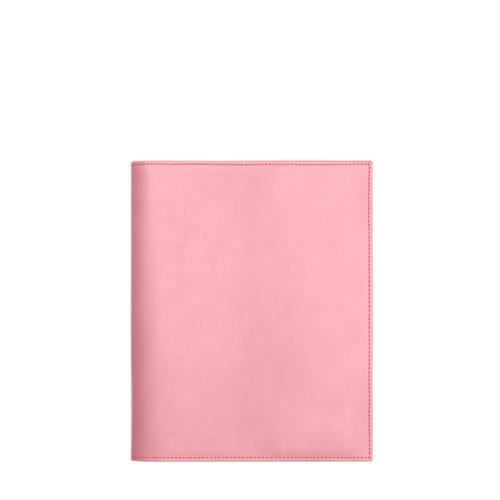 Couverture cahier A5 - Rose - Cuir Lisse