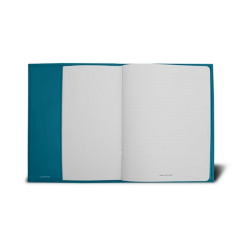 Couverture cahier A5 - Turquoise - Cuir Lisse