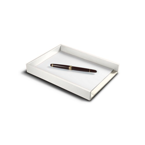 A5 Letter Tray / Order prescription - White - Smooth Leather