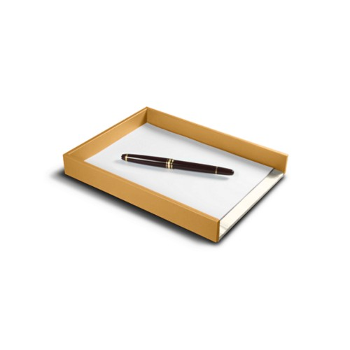 A5 Letter Tray / Order prescription - Mustard Yellow - Smooth Leather