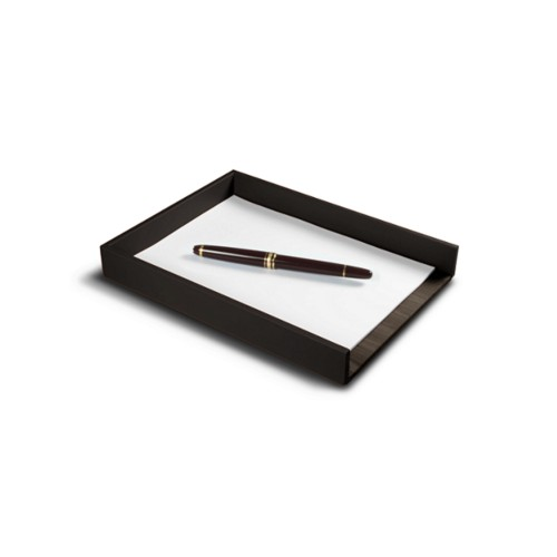 A5 Letter Tray / Order prescription - Dark Brown - Smooth Leather