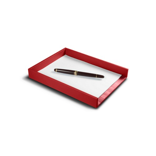 A5 Letter Tray / Order prescription - Red - Smooth Leather