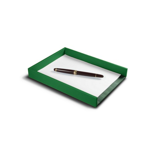A5 Letter Tray / Order prescription - Light Green - Smooth Leather