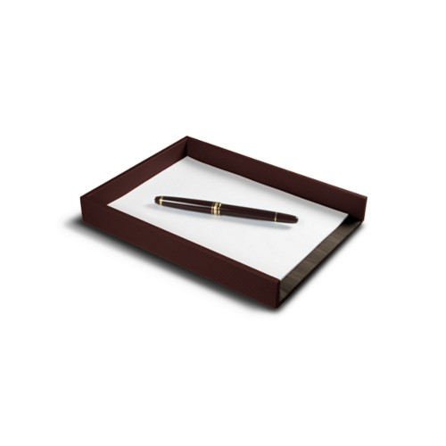 A5 Letter Tray / Order prescription - Dark Brown - Vegetable Tanned Leather