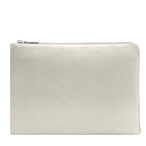 Porte document zippé - Blanc Cassé - Cuir Grainé