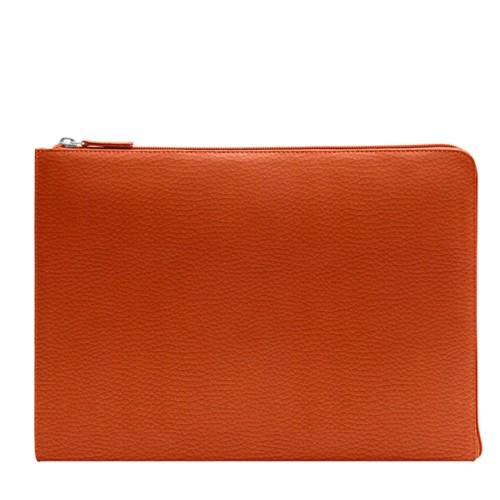 Porte document zippé - Orange - Cuir Grainé
