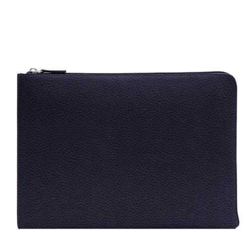 Porte document zippé - Violet - Cuir Grainé