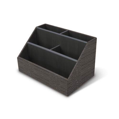 Desk Tidy - Mouse-Grey - Crocodile style calfskin