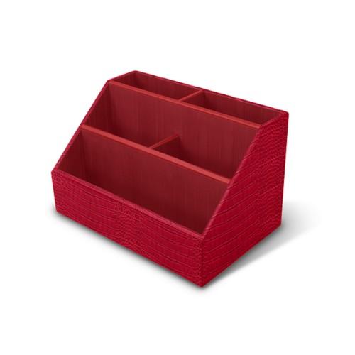 Desk Tidy - Red - Crocodile style calfskin