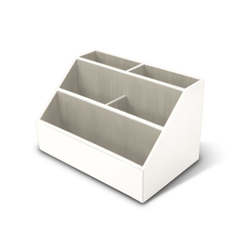 Desk Tidy - White - Smooth Leather