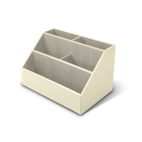 Desk Tidy - Off-White - Smooth Leather