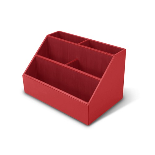 Desk Tidy - Red - Smooth Leather