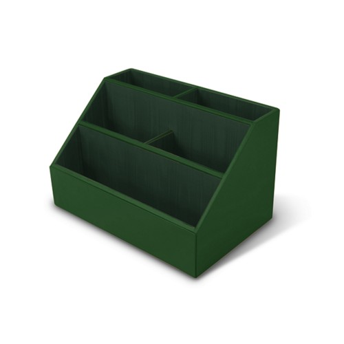 Desk Tidy - Dark Green - Smooth Leather