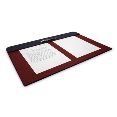 Desk pad (60 x 40 cm) - Navy Blue-Burgundy - Smooth Leather