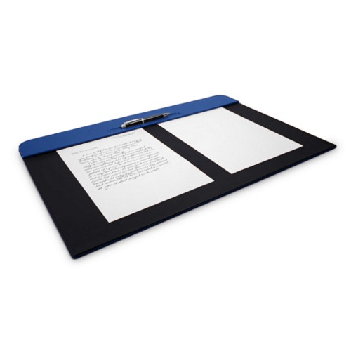 Desk pad (60 x 40 cm) - Royal Blue-Black - Smooth Leather