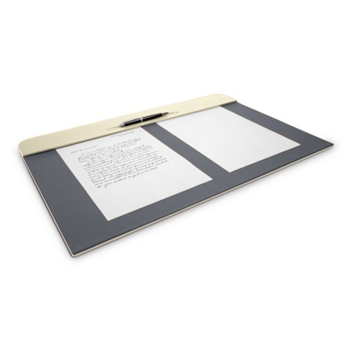 Desk pad (23.6 x 15.7 inches) - Off-White-Mouse-Grey - Smooth Leather