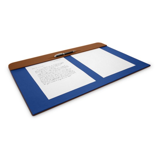 Desk pad (60 x 40 cm) - Tan-Blue - Smooth Leather