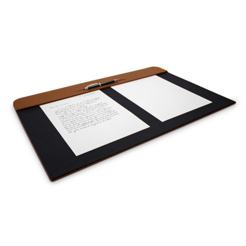 Desk pad (60 x 40 cm) - Tan-Black - Smooth Leather