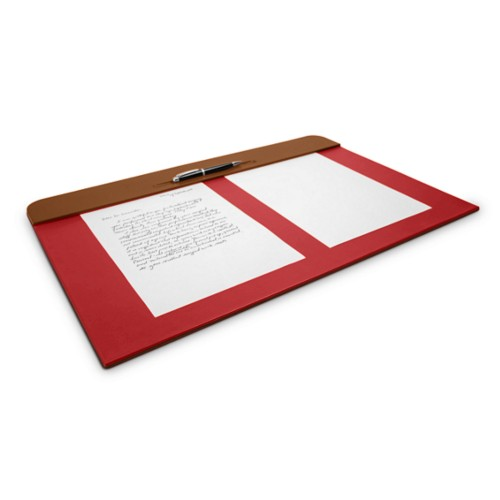 Desk pad (23.6 x 15.7 inches) - Tan-Red - Smooth Leather