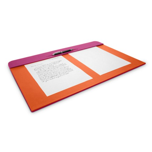 Desk pad (60 x 40 cm) - Fuchsia-Orange - Smooth Leather