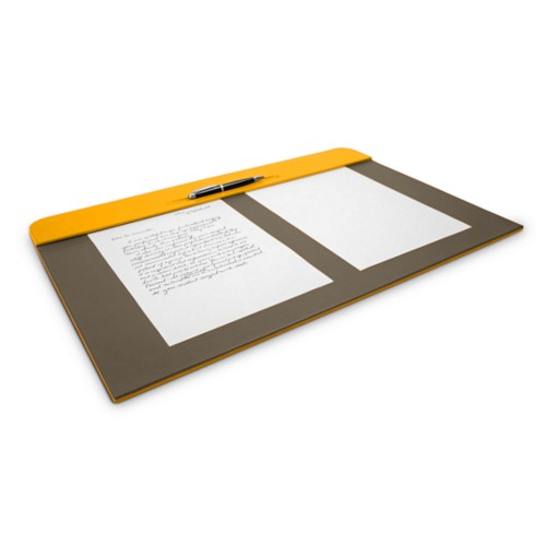 Desk pad (60 x 40 cm) - Sun Yellow-Dark Taupe - Smooth Leather