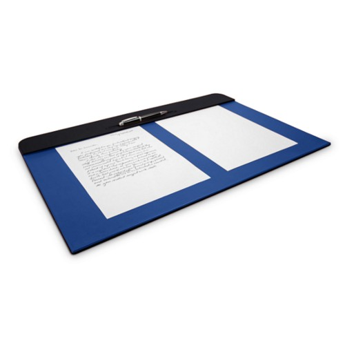 Desk pad (60 x 40 cm) - Black-Royal Blue - Smooth Leather