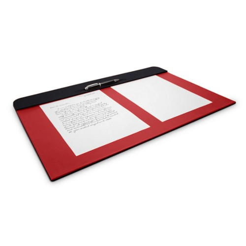 Desk pad (23.6 x 15.7 inches) - Black-Red - Smooth Leather
