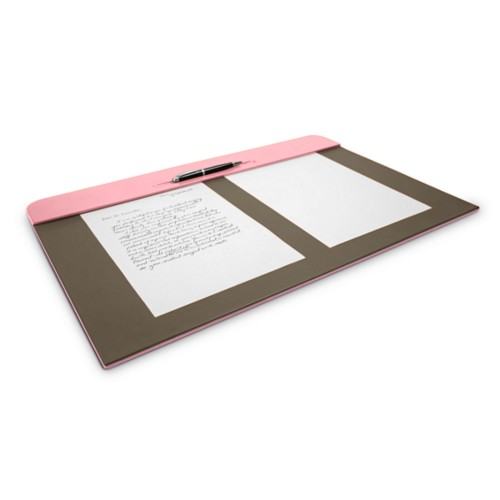 Desk pad (60 x 40 cm) - Pink-Dark Taupe - Smooth Leather