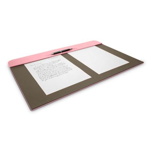 Vade de escritorio(60 x 40 cm) - Rosa-Marrón topo - Piel Liso