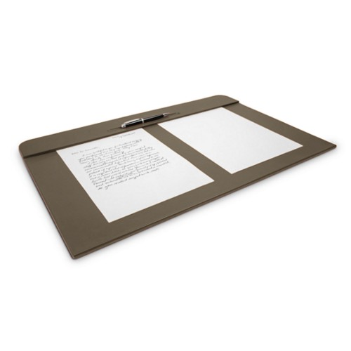 Desk pad (23.6 x 15.7 inches) - Dark Taupe - Smooth Leather