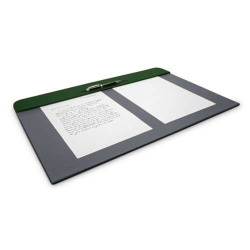 Desk pad (60 x 40 cm) - Dark Green-Mouse-Grey - Smooth Leather