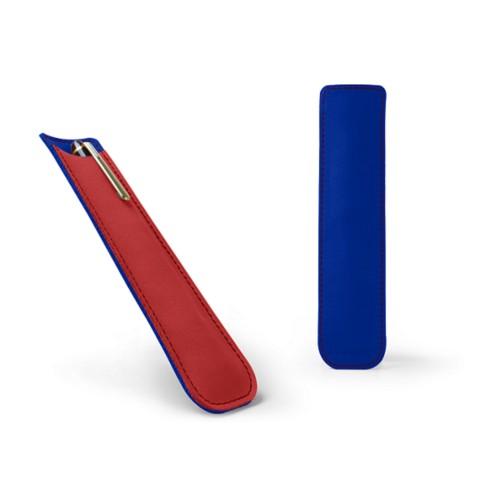 Estuche para bolígrafos - Rojo-Cielo Azul  - Nubuck de ternero
