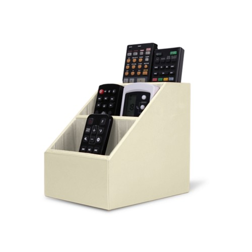 Remote Control Organiser - Off-White - Smooth Leather