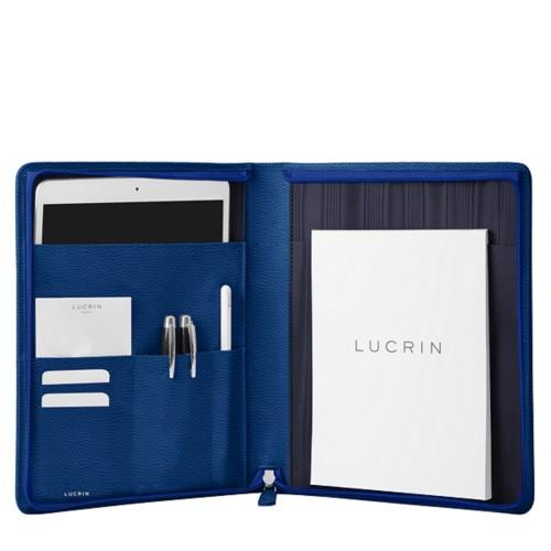 iPad Portfolio Folder Case - Royal Blue - Granulated Leather