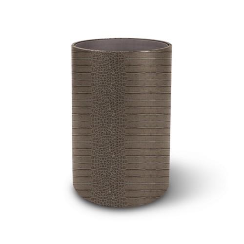 Round waste paper bin - Light Taupe - Crocodile style calfskin
