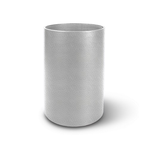 Small round waste basket - White - Granulated Leather