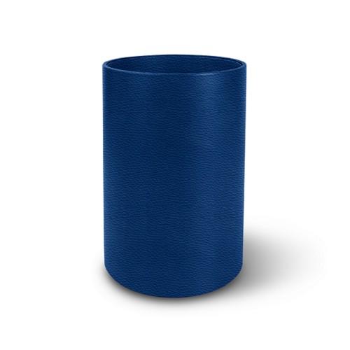 Petite corbeille à papier ronde - Bleu Roi - Cuir Grainé