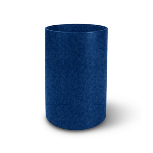 Small round waste basket - Royal Blue - Granulated Leather