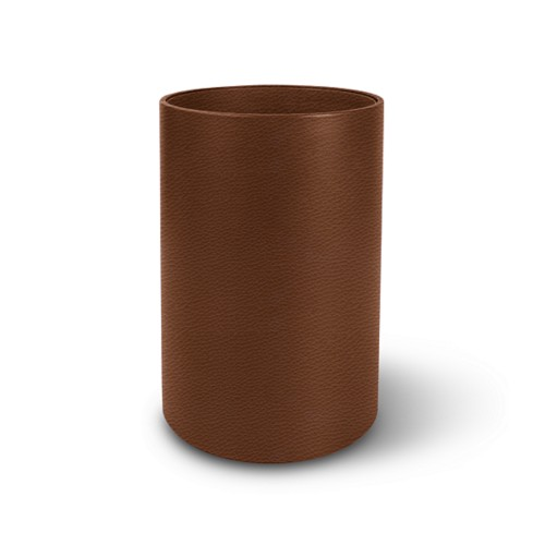 Small round waste basket - Tan - Granulated Leather
