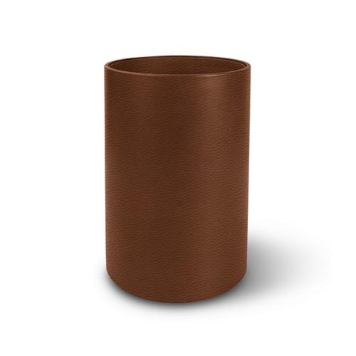 Papelera redonda pequeña - Coñac  - Piel Grano