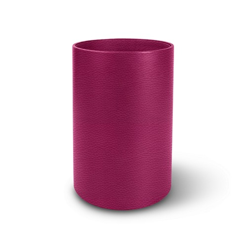 Round waste paper bin - Fuchsia  - Granulated Leather