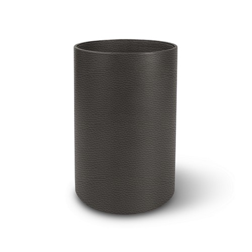 Round waste paper bin - Mouse-Grey - Granulated Leather
